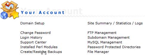 Your Account overzicht binnen DirectAdmin met de link om back-up te maken.
