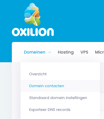 Weergave van het submenu onder domeinen met de link naar domein contacten.