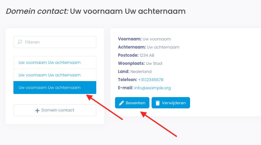 Illustratie van een te kiezen domein contact en de knop bewerken.