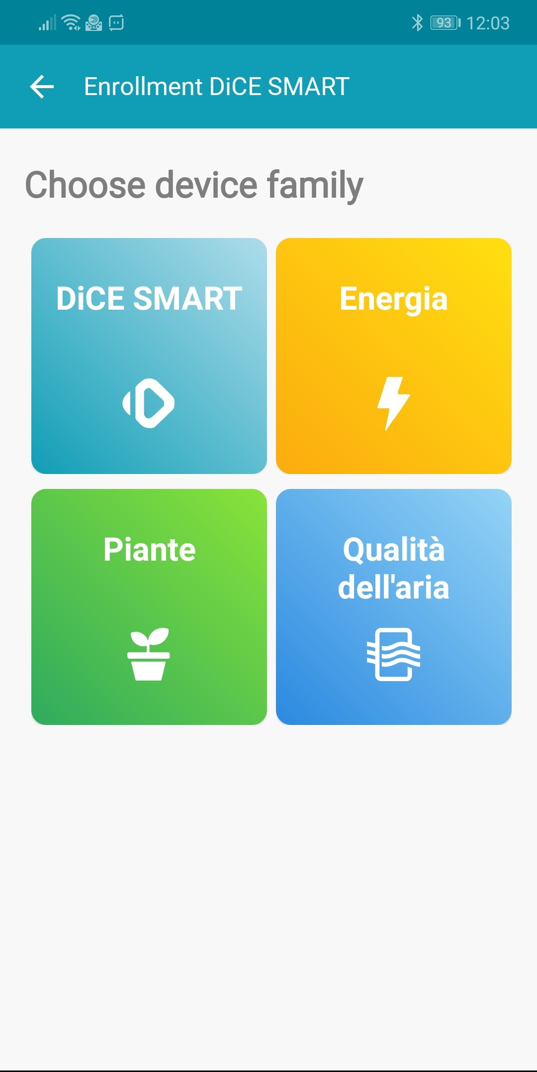 The devices associated with DiCE Smart are shown in the DiCEhome app