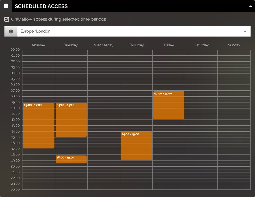 Scheduled access grid has time zone and columns for every day of the week. Each row represents 1 hour. There are orange blocks that fill up time slots on different days.