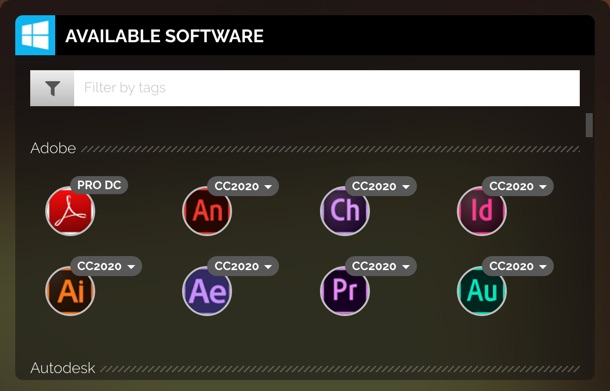 Available Software section showing a list of the different applications that are available.