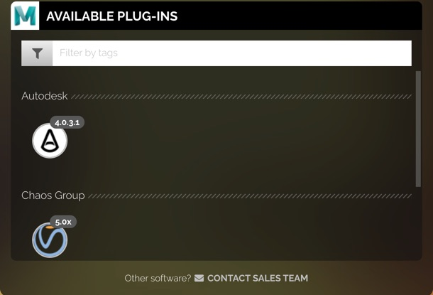 Available plug-ins section showing some plug-ins that are available for autodesk and chaos group software.