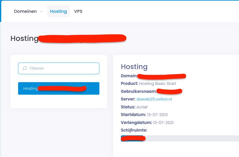 Weergave van details van hostingpakket