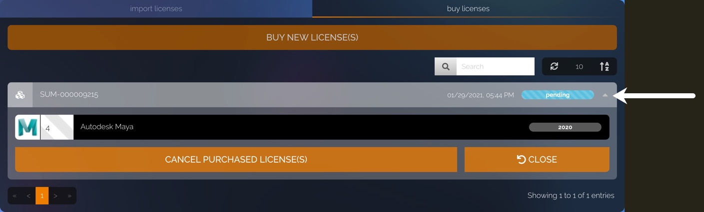 The Buy New Licenses section shows the placed orders. One of the orders is expanded so that you can see the details of the order and cancel it if needed.