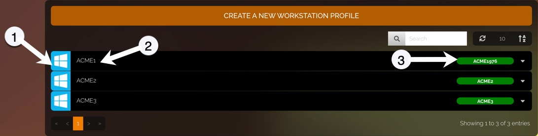 Workstation profile list. There are numbered arrow callouts. 1 points to an operating system icon, 2 points to the name of the workstation profile, and 3 points to the status bar which is color-coded and also shows the codename.