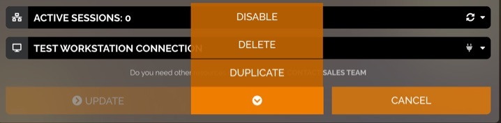 Option button next to Update button is selected. It reveals a menu which contains options for Disable, Delete, and Duplicate.