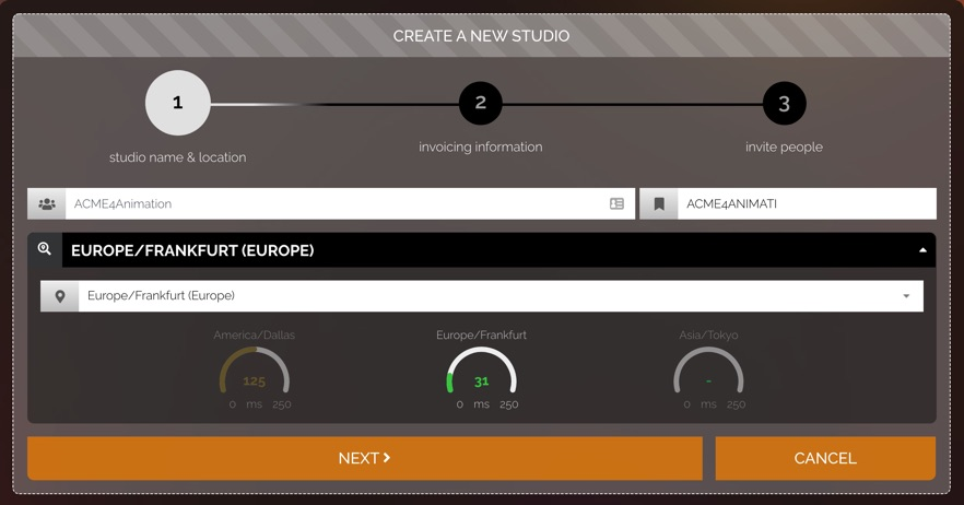 Create a new studio settings for studio name and location.