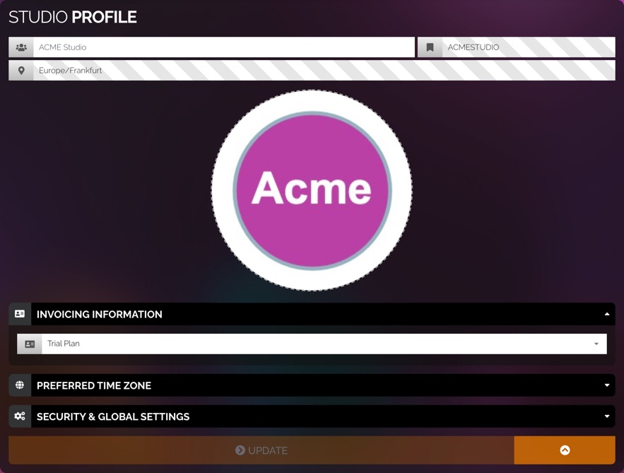 Studio profile showing that a custom studio logo has been added to the profile.