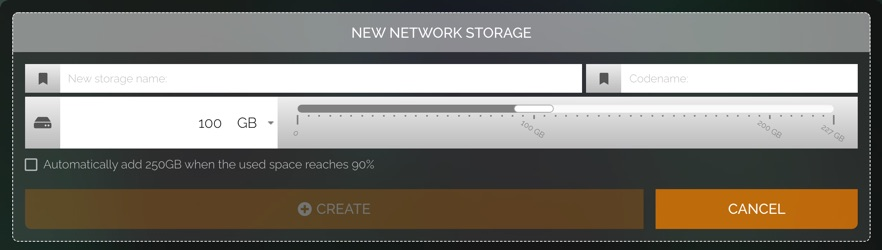 New network storage settings. There is a name field, a codename field, and a slider. The slider has measurements for data storage, with the maximum amount being the storage that is remaining on your plan.
