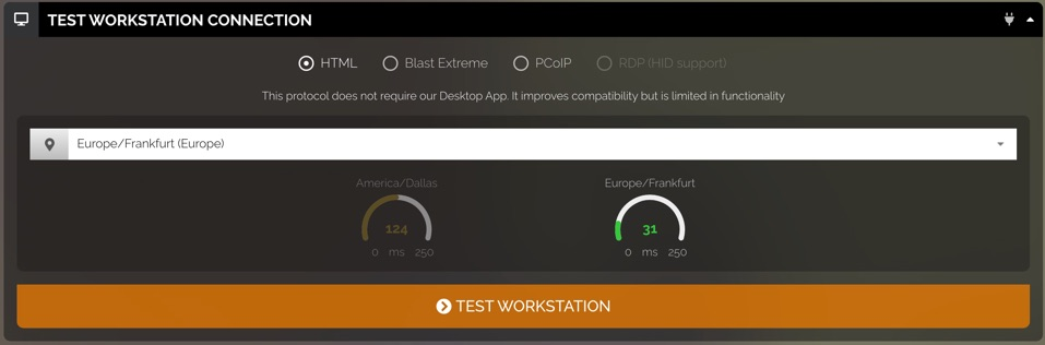 Test workstation connection settings. These are only available when you edit a workstation profile. There are buttons at the top to select the protocol (HTML, Blast Extreme, PCoIP, and RDP (HID support). There is a dropdown menu to choose a server and connection speed results shown as a diagram.