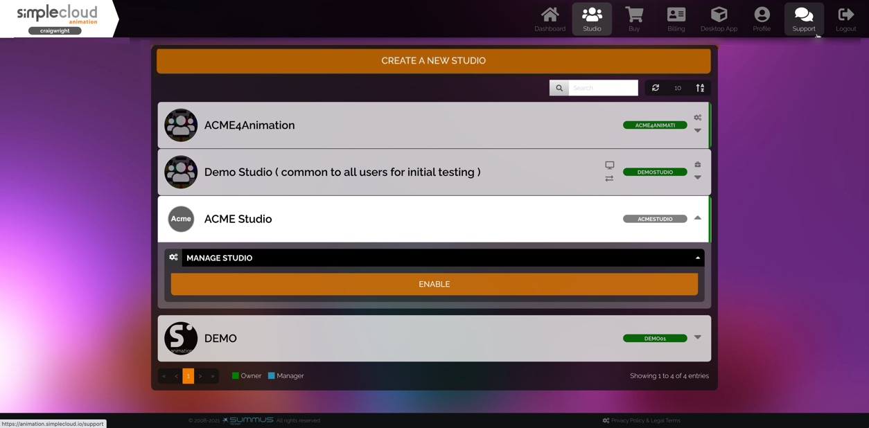 Studio list. A disabled studio is selected, revealing its settings. There is an Enable button.