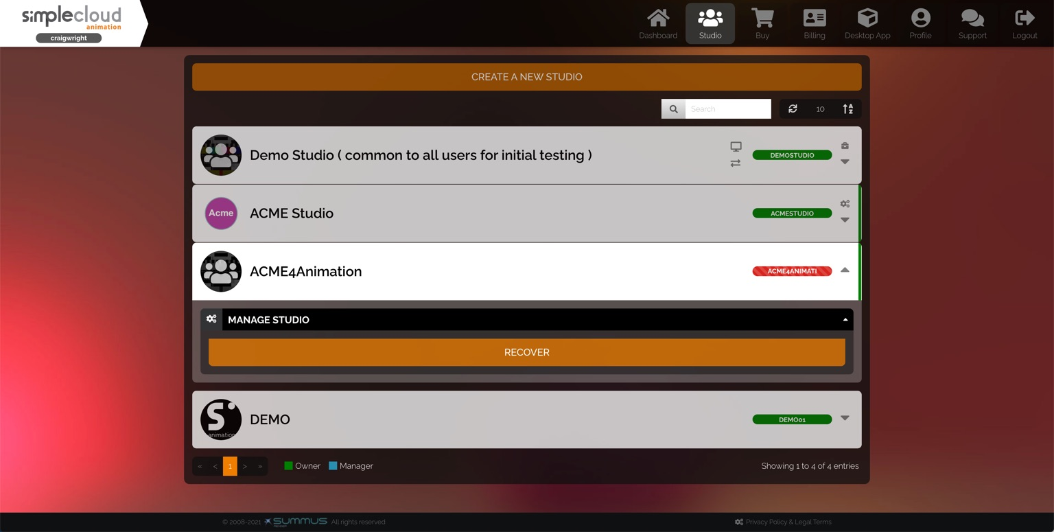 Studio list. A studio that is marked for deletion is selected, revealing a Recover button.
