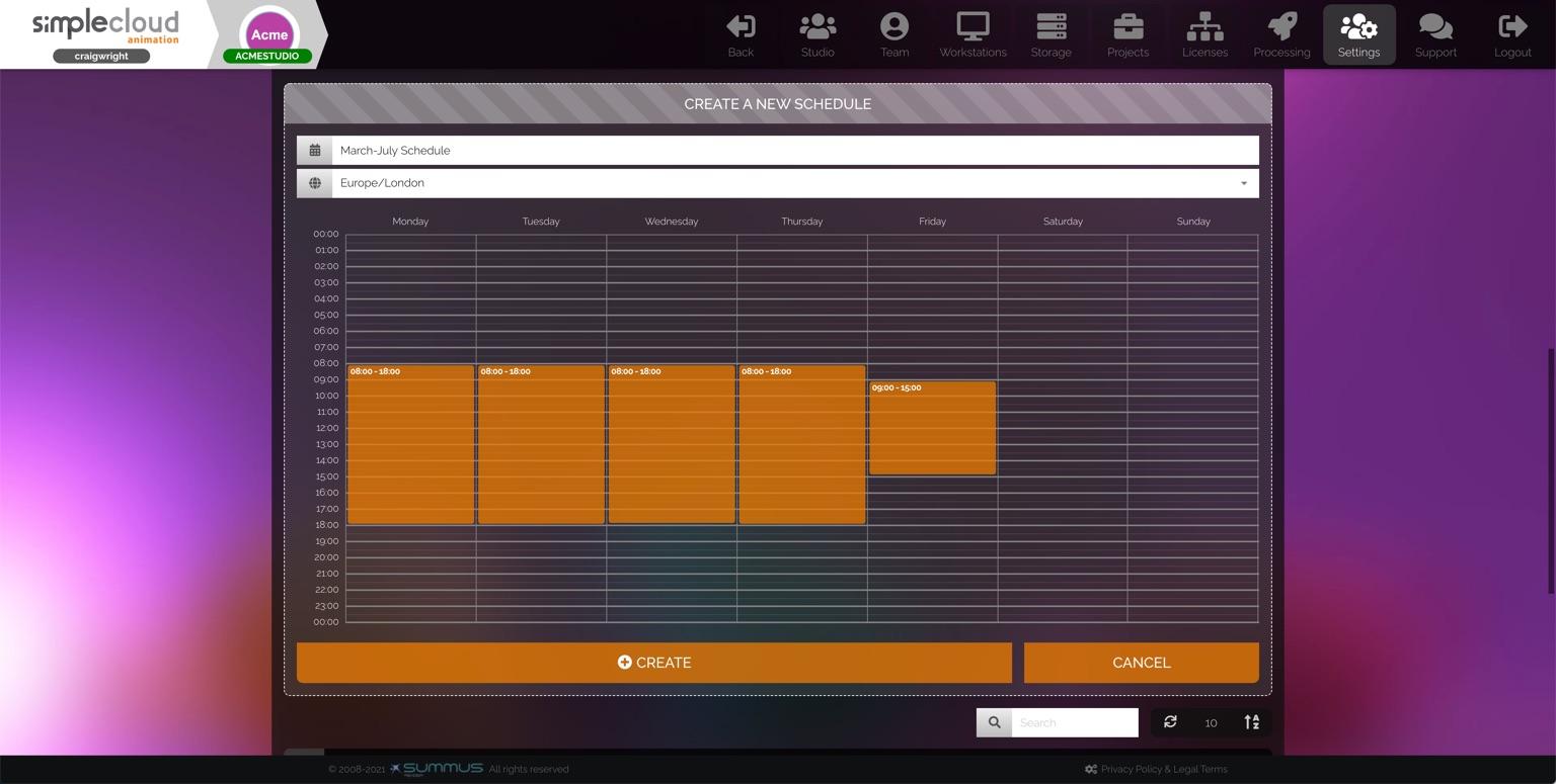 Studio schedule grid. Columns for days of week, orange blocks for selected times.