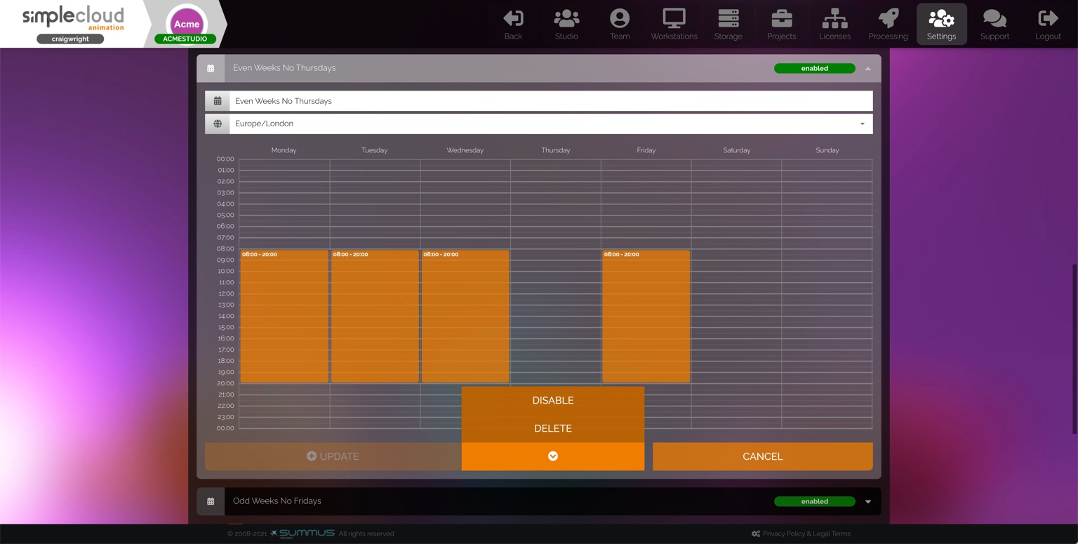 Studio schedule grid. The arrow icon is selected, revealing a menu.