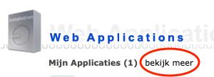 Link bekijk meer onder Web Applications in DirectAdmin.