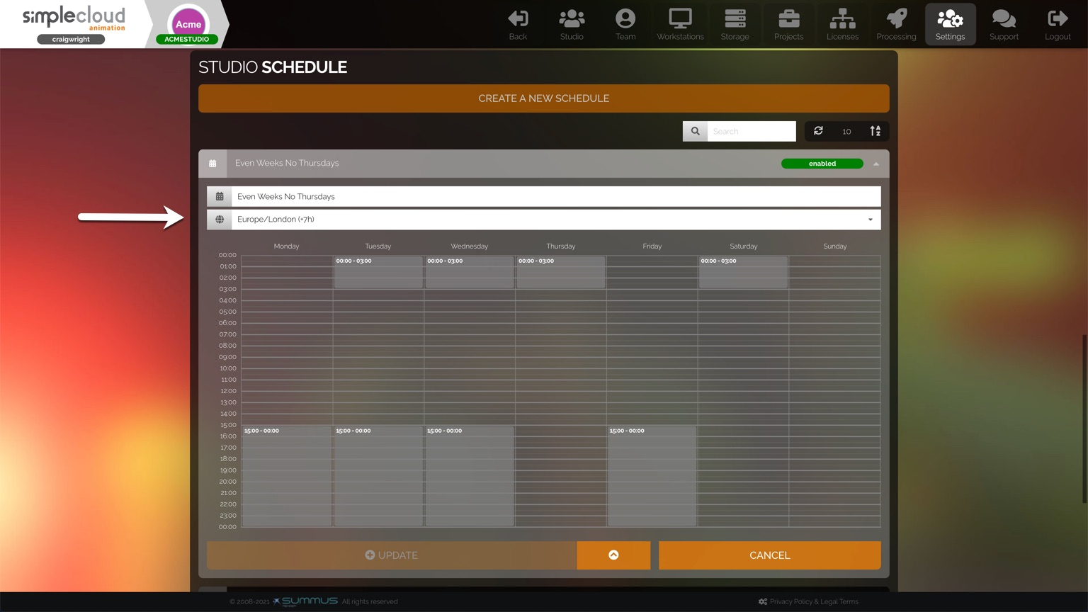 Studio schedule has option for changing time zone.