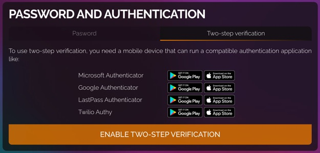 Password and authentication section showing the two-step verification tab. There is a list of the authentication apps that SimpleCloud supports for two-factor authentication.