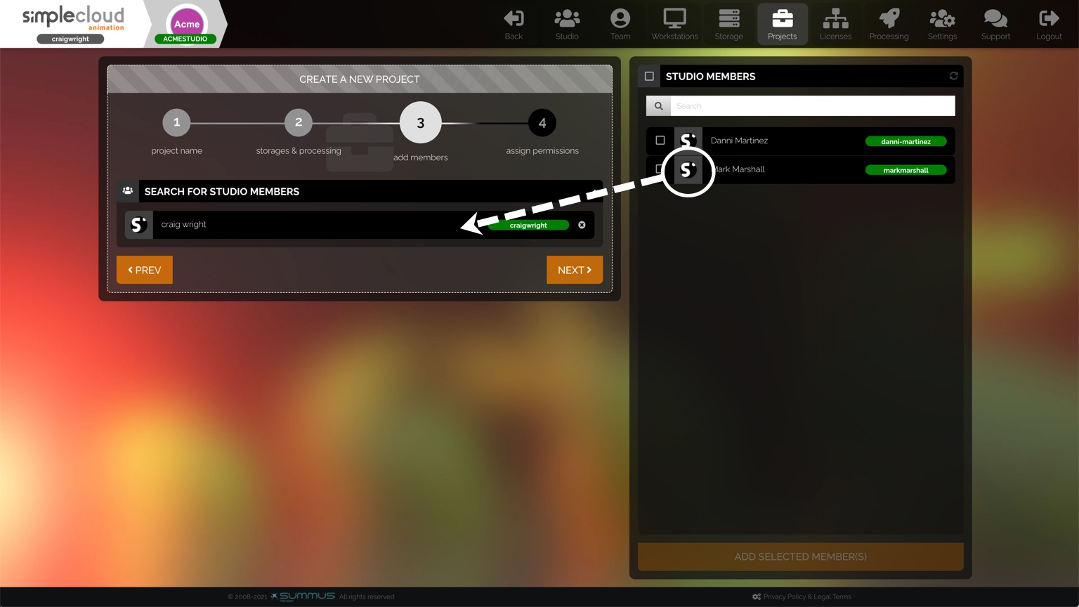 Drag a user into the studio members section to add them to your project.