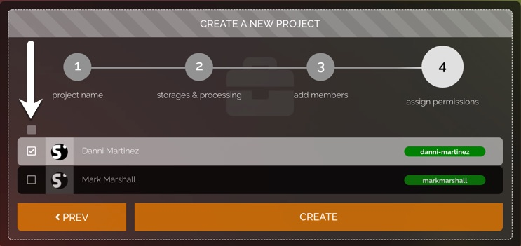 members section in stage 3 of the new project settings.