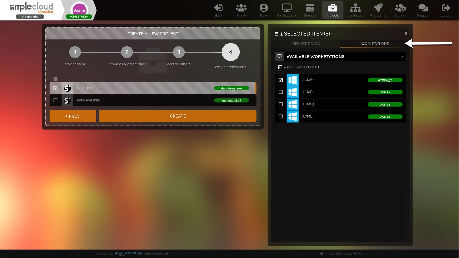 Workstations tab on stage 4 of the project creation settings.