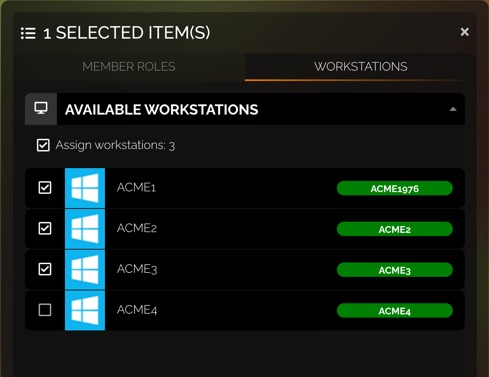 Workstations have a checkbox for assigning them