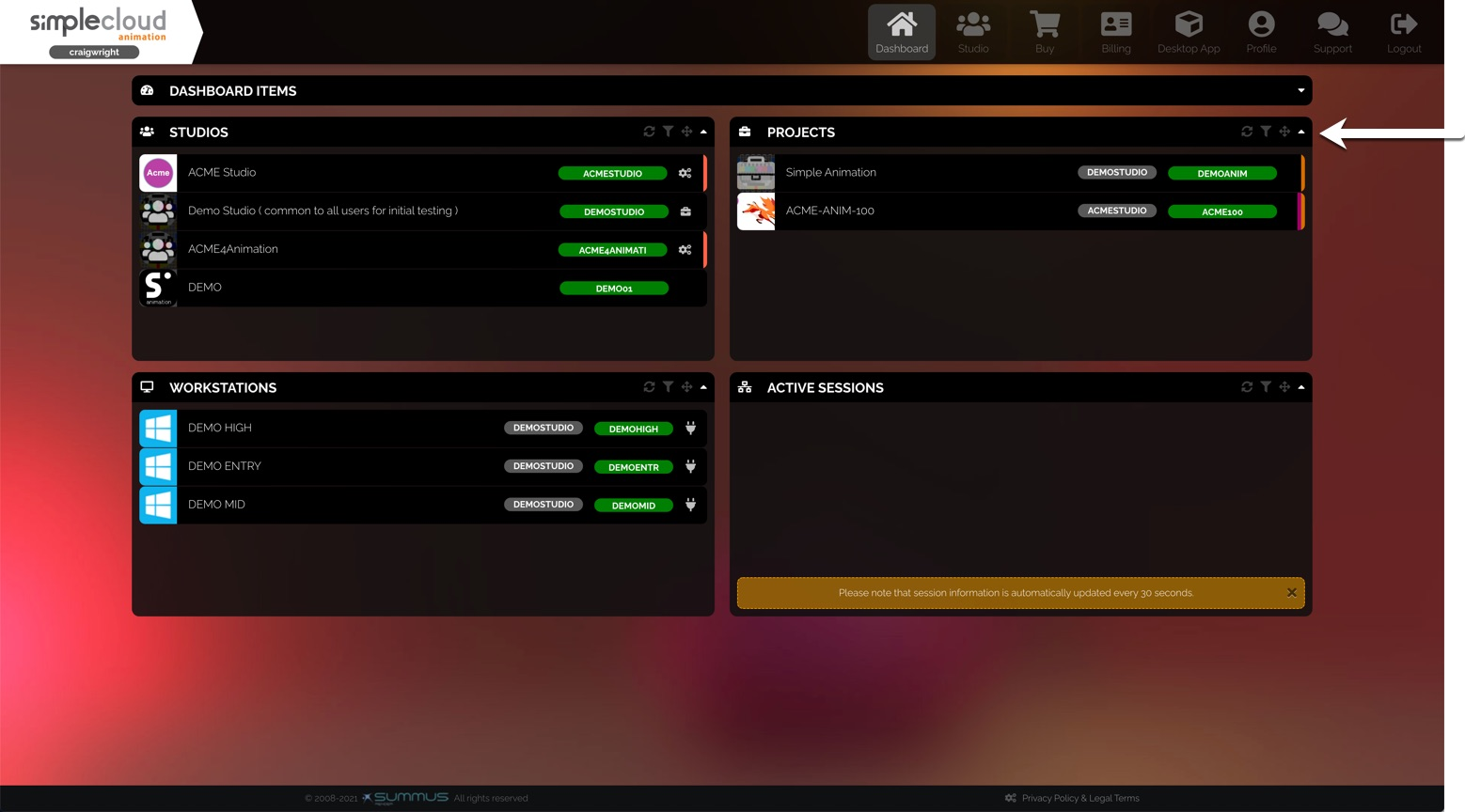 Dashboard. There is a list of projects in the top-right section.