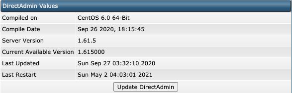 Waarden van DirectAdmin en de knop om DirectAdmin te updaten.