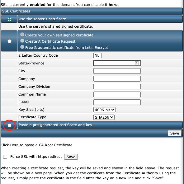 De opties voor SSL-certificaten binnen DirectAdmin.