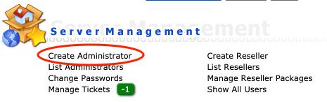 Create Administrator link in het hoofdmenu van DirectAdmin.