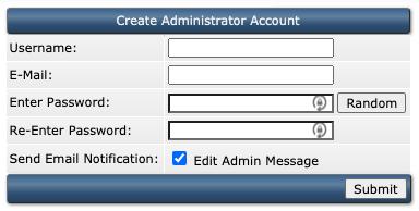 Benodigde gegevens voor het aanmaken van een Admin account in DirectAdmin.