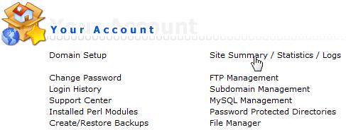 Link naar de statisieken binnen DirectAdmin onder menu Your Account.