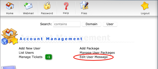 Link om de User Message aan te passen binnen DirectAdmin onder Account Management.