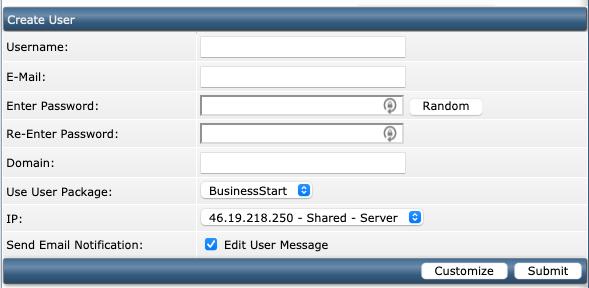 Instellingen binnen DirectAdmin die ingevuld moeten worden voor het aanmaken van een User.