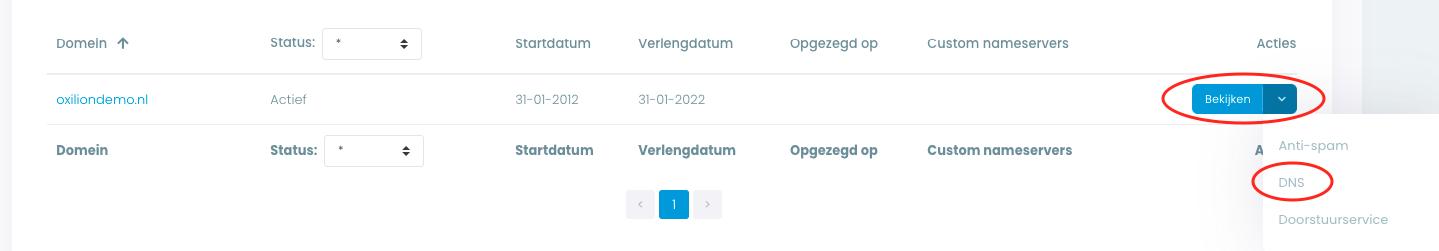 Opties binnen Domein overzicht om bij de DNS beheer pagina te komen in Mijn Oxilion.