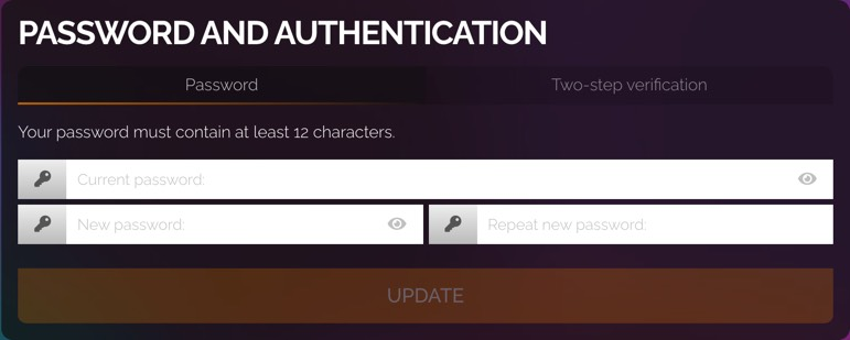 Password tab of Password and Authentication section.