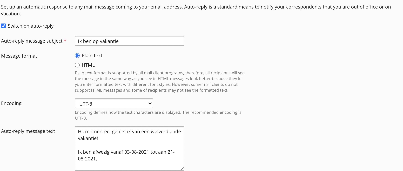 Op deze pagina kan je de afwezigheidsmelding instellen. Hier stel je ook in vanaf wanneer de melding moet beginnen.