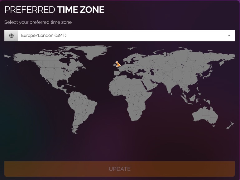 Preferred time zone selection.