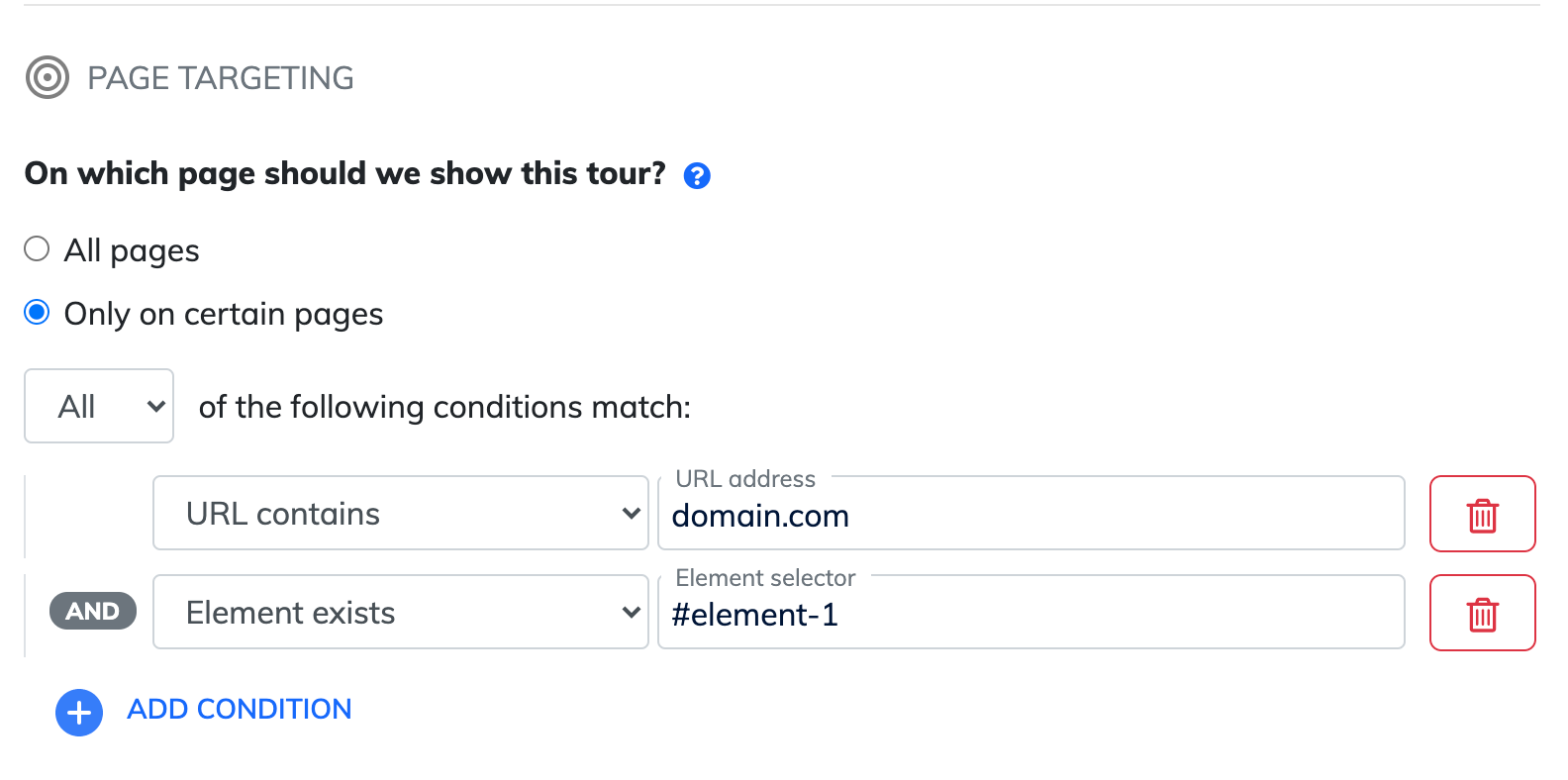 Page targeting product tours
