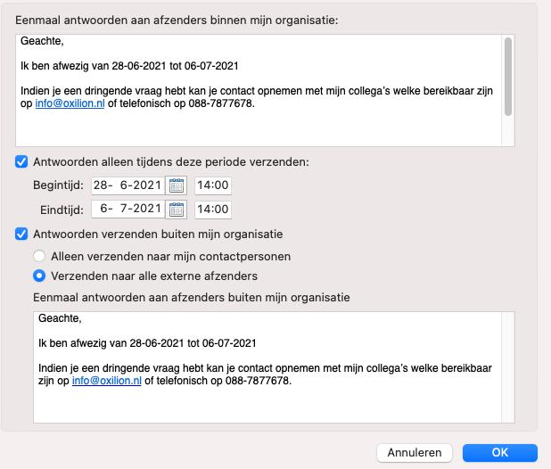 Alle instellingen om je automatische antwoorden in te stellen binnen Mircorsoft 365 op Mac OS.