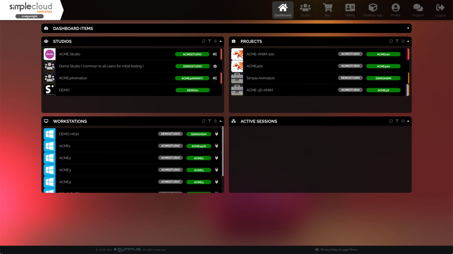 Dashboard shows studios, projects, and workstations you can use.