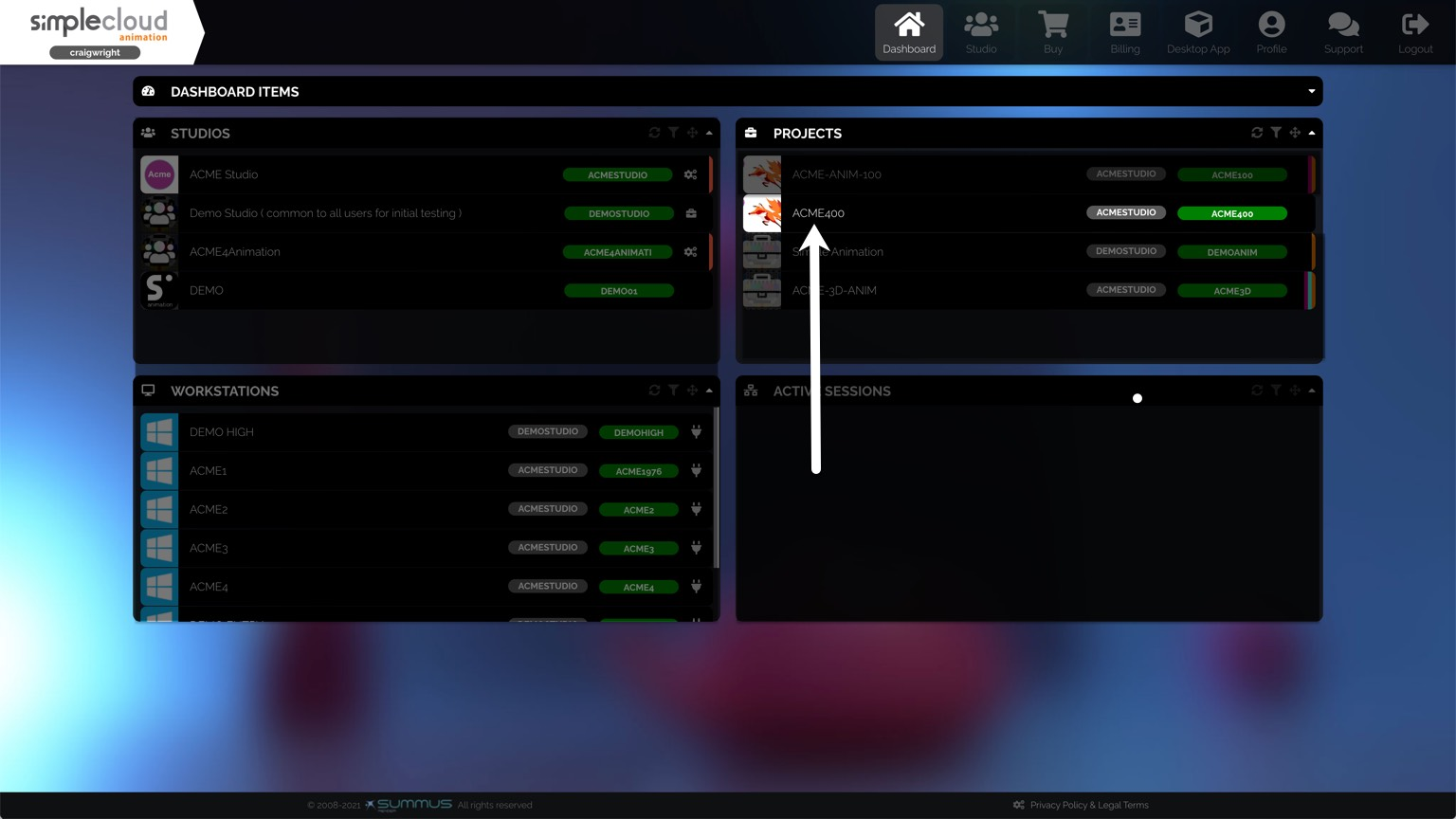 Dashboard has a Projects section in the top right where you can select a project.