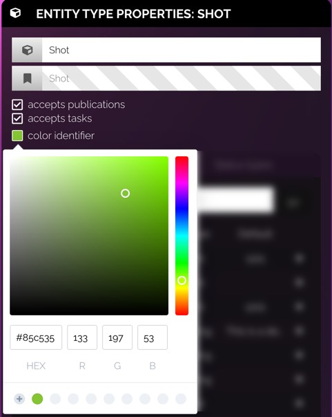 Select the color identifier box to open the color selector
