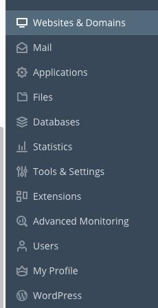 Menu opties linkerkant admin omgeving Plesk, in dit menu klik je op tools & settings