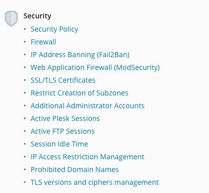 Overzicht security opties in Plesk