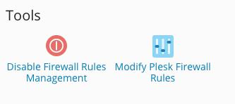 Mogelijkheden voor de firewall, klik op modify plesk firewall rules