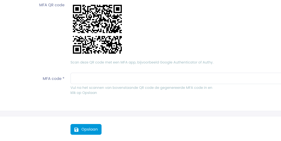 Voorbeeld van een QR code in Mijn Oxilion.