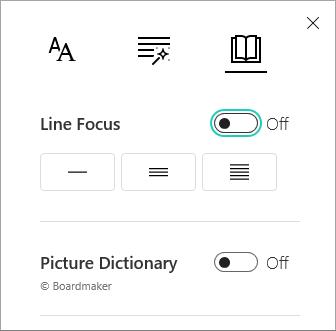 Line Focus menu toggle