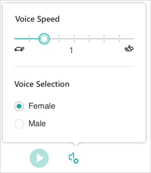 Immersive reader voice speed and gender