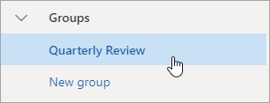 A screenshot of a group in the navigation pane